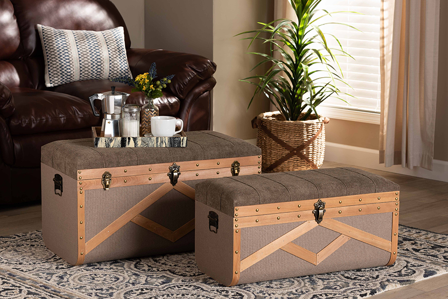 Kala Brown Fabric Walnut Wood 2-pc Storage Ottoman Trunk Set | Baxton Studio