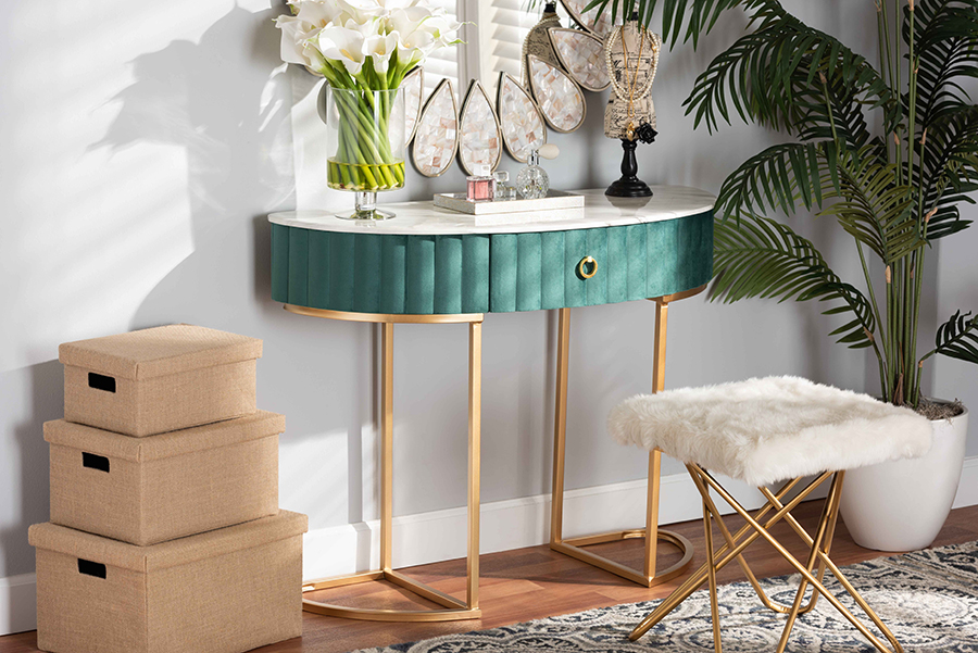 Beale Green Velvet Gold 1 Drawer Console Table with Faux Marble Tabletop   Baxton Studio
