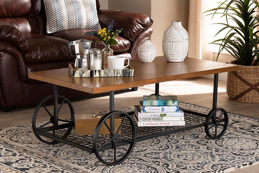 Ursa Walnut Wood Black Metal Wheeled Coffee Table | Baxton Studio