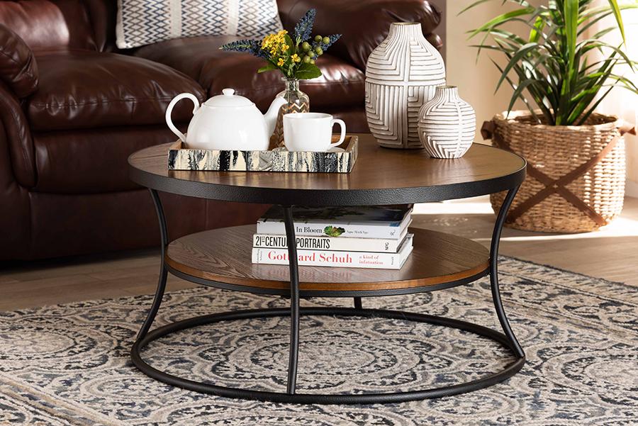 Albany Walnut Wood Black Metal 1 Shelf Coffee Table | Baxton Studio