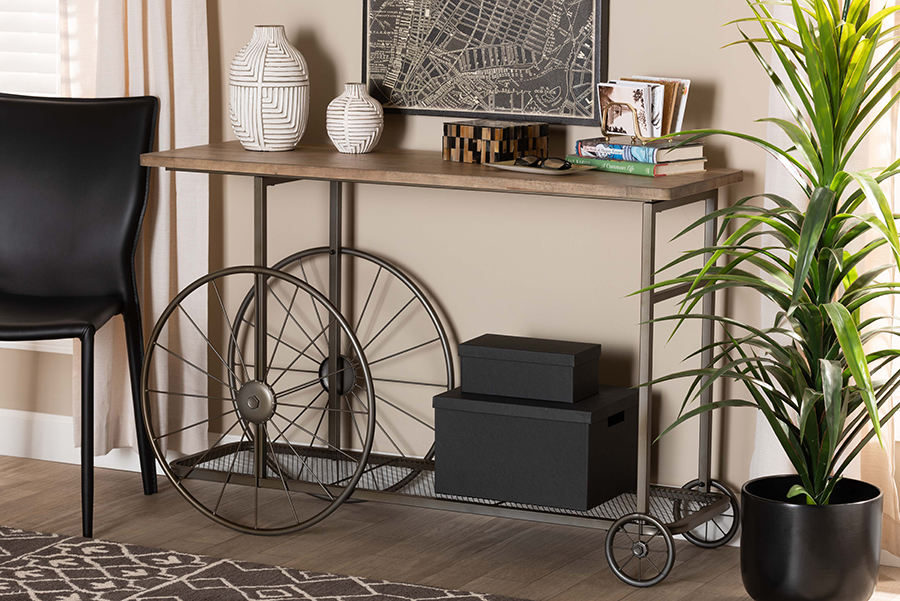 Terence Natural Wood Black Metal Wheeled Console Table   Baxton Studio