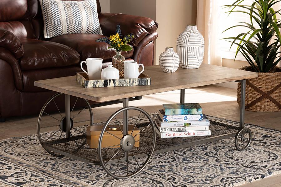 Terence Natural Wood Black Metal Wheeled Coffee Table | Baxton Studio