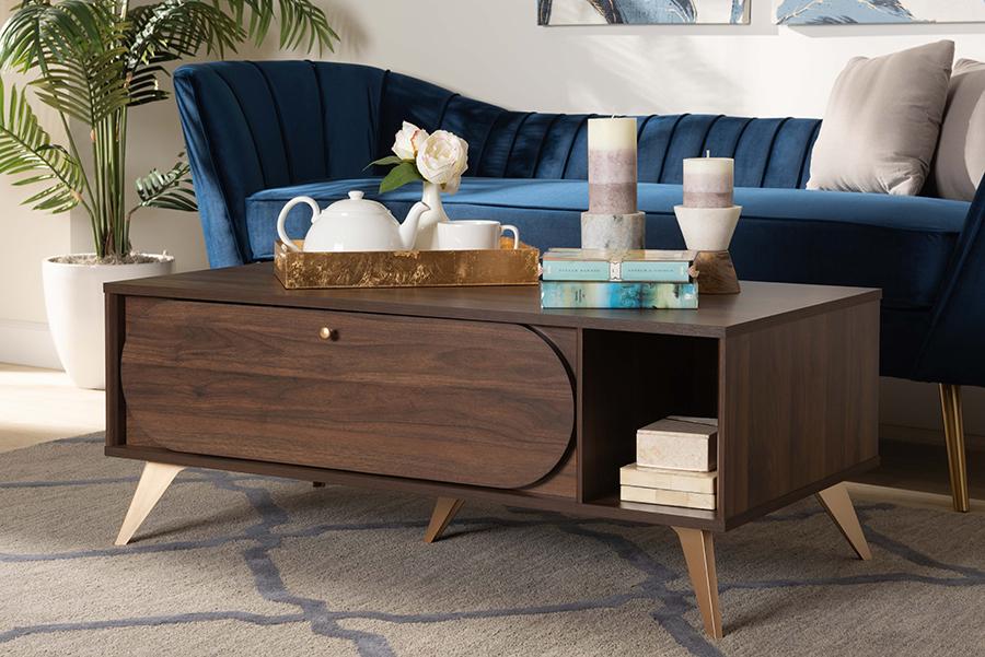 Edel Walnut Brown Gold Wood Coffee Table | Baxton Studio