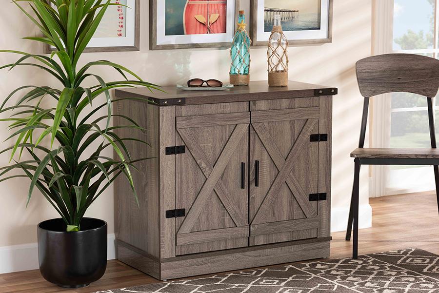 Wayne Oak Brown Wood 2 Door Shoe Storage Cabinet | Baxton Studio