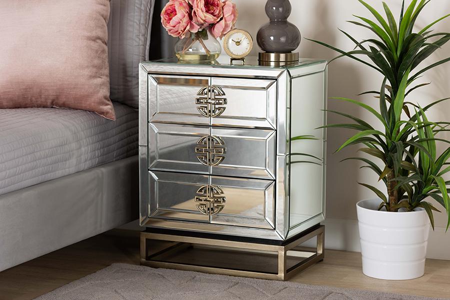 Laken Mirrored Antique Bronze 3 Drawer Nightstand | Baxton Studio