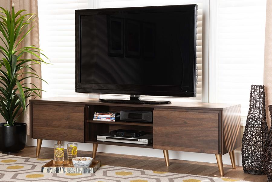 Landen Walnut Brown Gold Wood TV Stand | Baxton Studio
