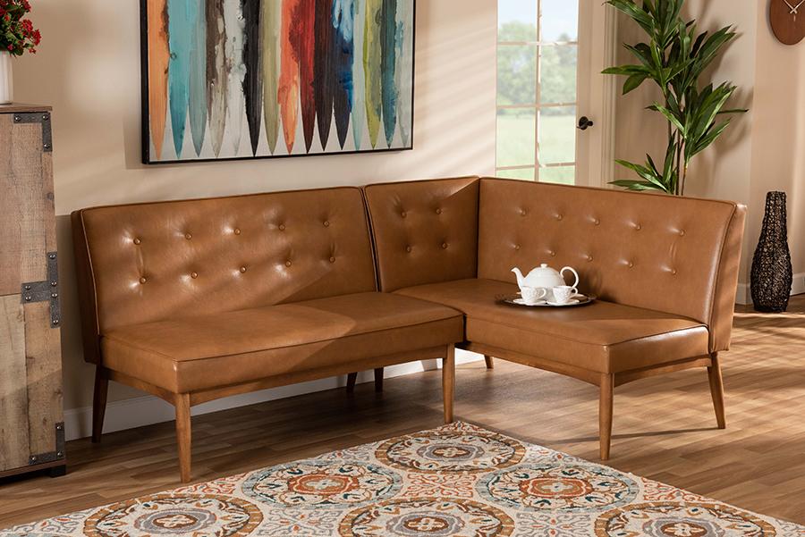 Arvid Tan Faux Leather Walnut Brown 2-pc Wood Dining Nook Set | Baxton Studio