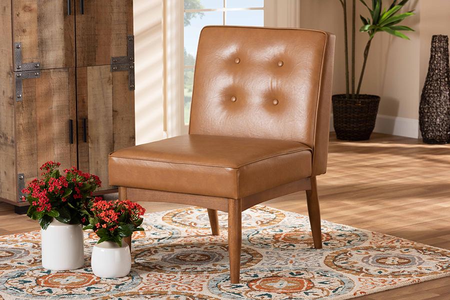 Arvid Tan Faux Leather Walnut Wood Dining Chair | Baxton Studio