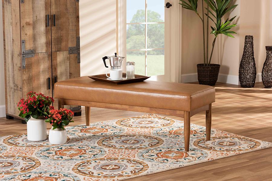Arvid Tan Faux Leather Walnut Wood Dining Bench | Baxton Studio