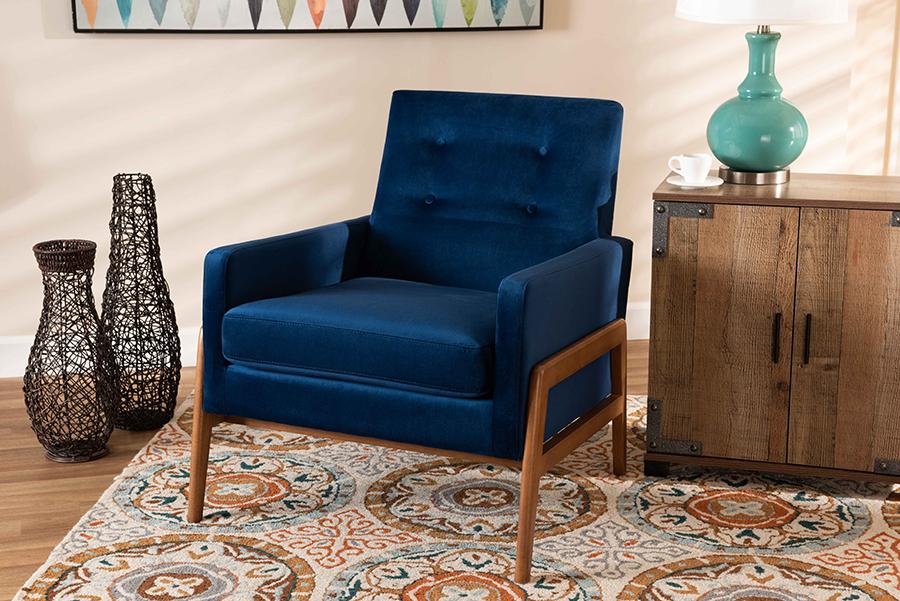 Perris Navy Blue Velvet Fabric Walnut Wood Lounge Chair | Baxton Studio