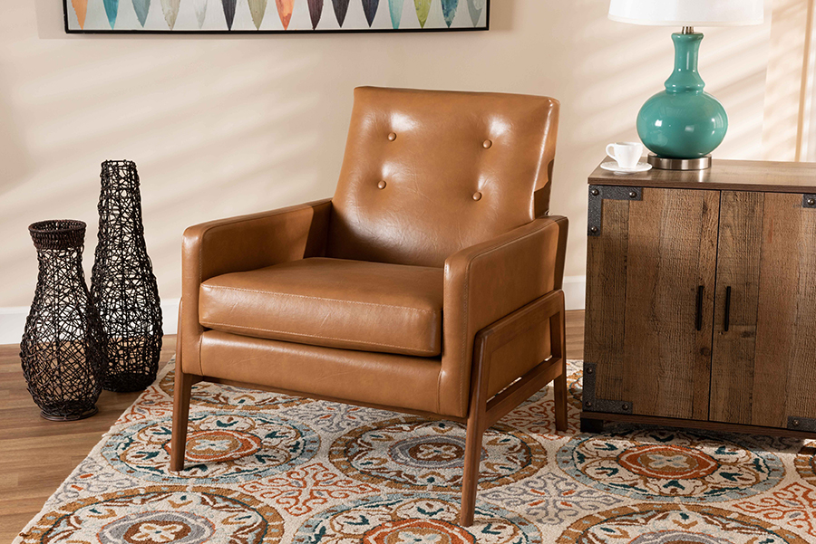 Perris Tan Faux Leather Walnut Wood Lounge Chair | Baxton Studio