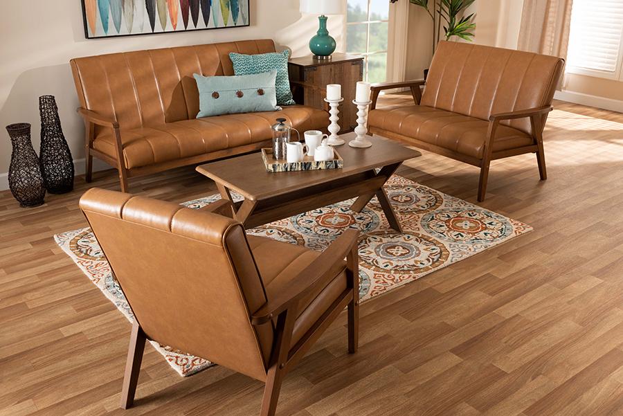 Nikko Tan Faux Leather Walnut Wood 3-pc Living Room Set   Baxton Studio