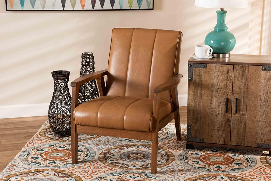 Nikko Tan Faux Leather Walnut Wood Lounge Chair | Baxton Studio