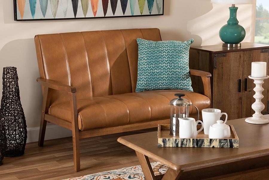 Nikko Tan Faux Leather Walnut Wood Loveseat   Baxton Studio