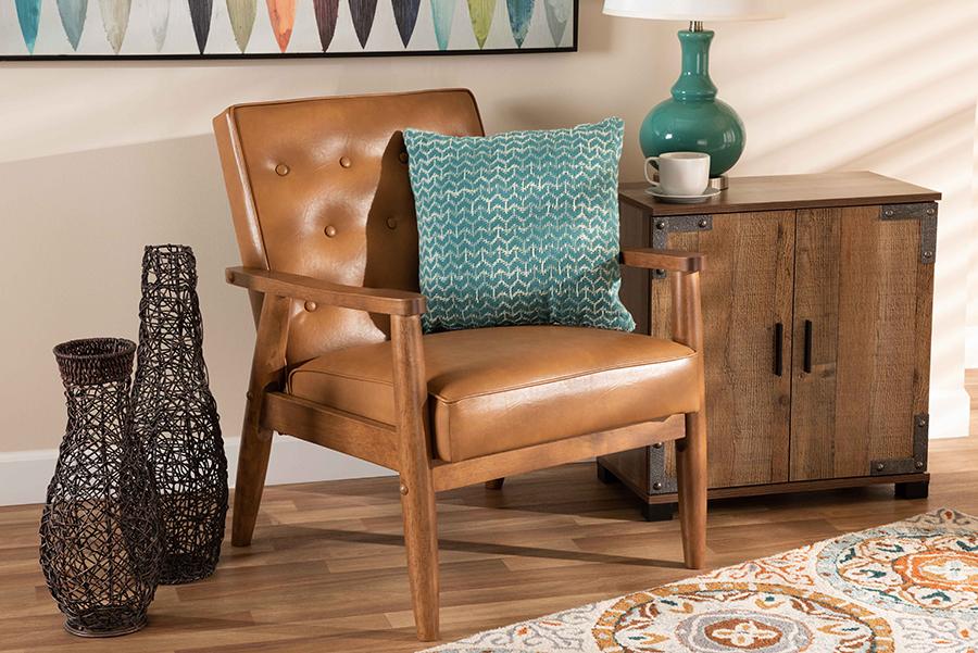 Sorrento Tan Faux Leather Walnut Wood Lounge Chair | Baxton Studio