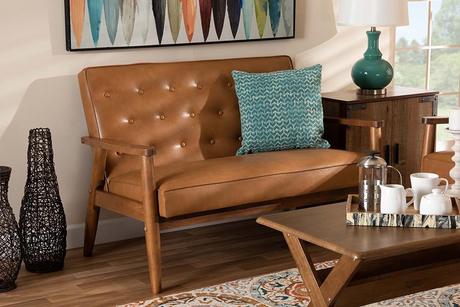 Sorrento Tan Faux Leather Walnut Wood Loveseat | Baxton Studio
