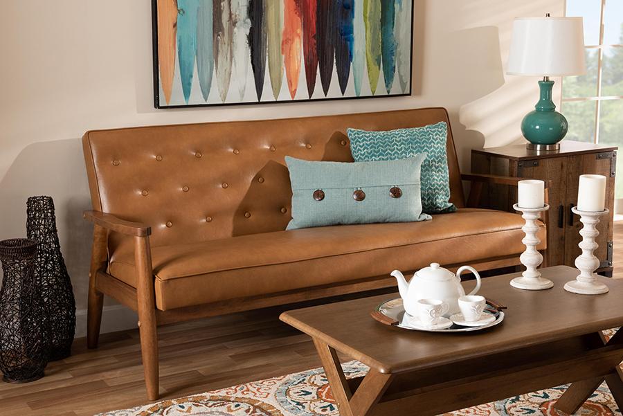 Sorrento Tan Faux Leather Walnut Wood Sofa | Baxton Studio