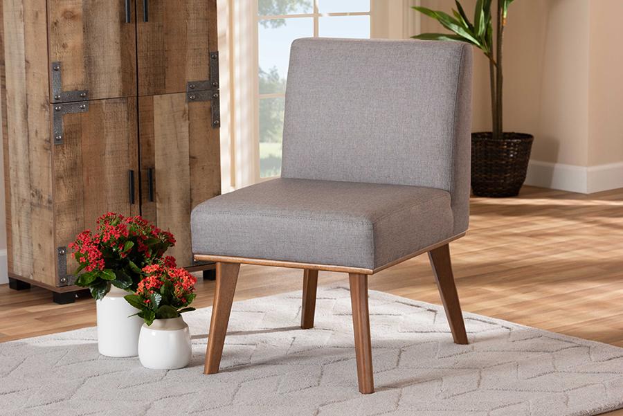 Odessa Grey Fabric Walnut Wood Dining Chair | Baxton Studio