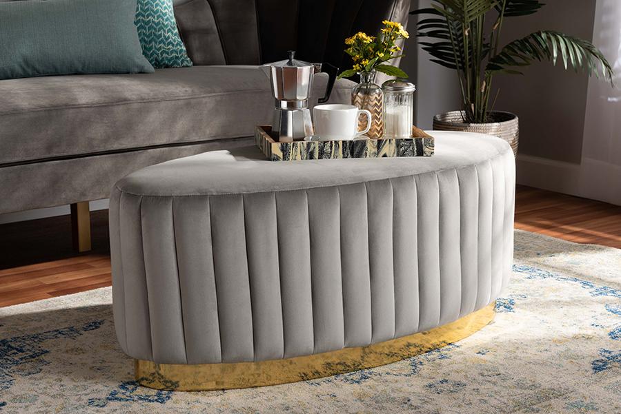 Kirana Grey Velvet Fabric Gold PU Leather Ottoman | Baxton Studio