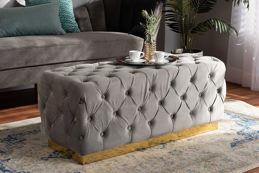 Corrine Grey Velvet Fabric Gold PU Leather Ottoman | Baxton Studio