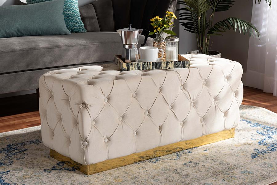 Corrine Beige Velvet Fabric Gold PU Leather Ottoman | Baxton Studio