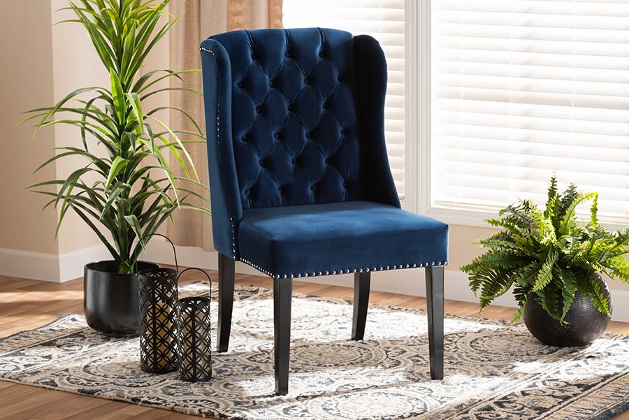 Lamont Navy Blue Velvet Fabric Dark Brown Wood Wingback Dining Chair | Baxton Studio