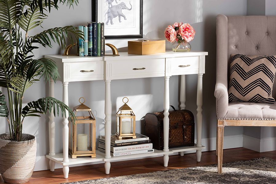 Hallan Provincial White Wood 3 Drawer Console Table   Baxton Studio