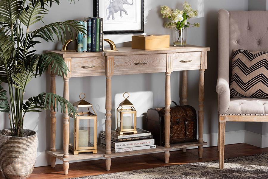 Hallan Provincial Whitewashed Oak Brown Wood 3 Drawer Console Table   Baxton Studio