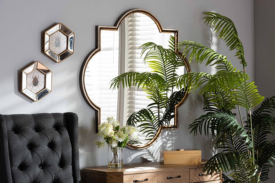 Tiana Antique Bronze Gold Metal Quatrefoil Accent Wall Mirror   Baxton Studio