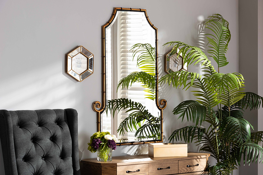 Layan Gold Metal Accent Wall Mirror | Baxton Studio