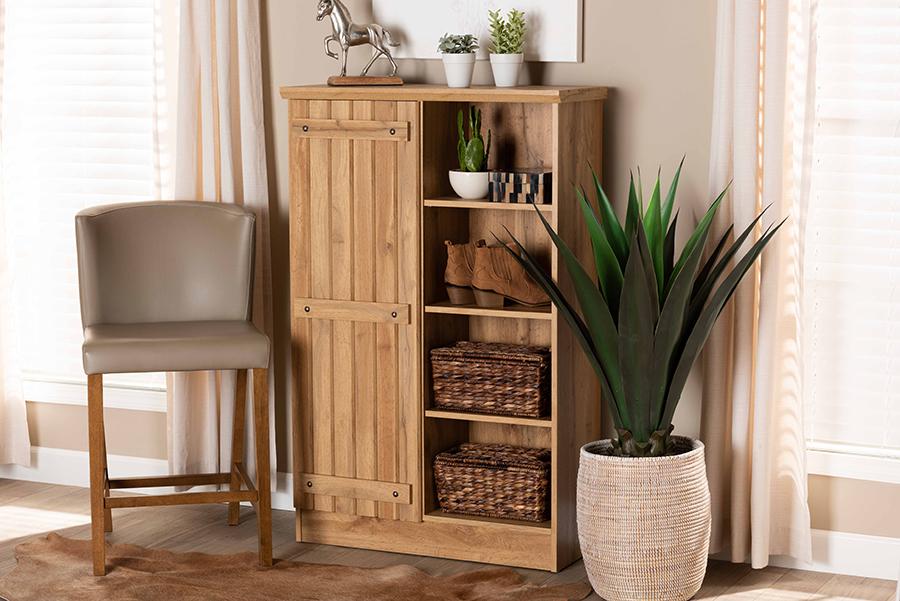 Eren Natural Oak Brown Wood 1 Door Shoe Cabinet | Baxton Studio