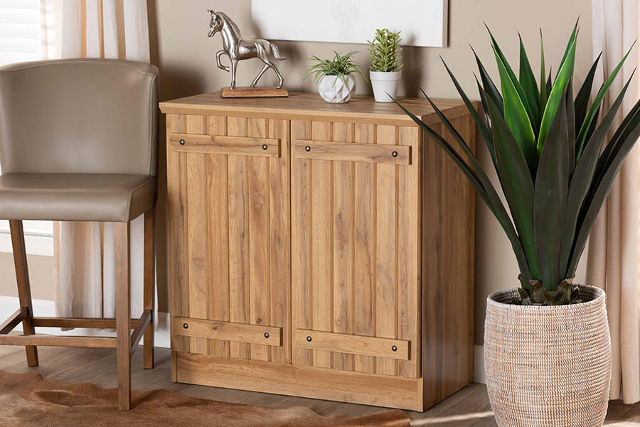 Sorina Natural Oak Brown Wood 2 Door Shoe Cabinet   Baxton Studio