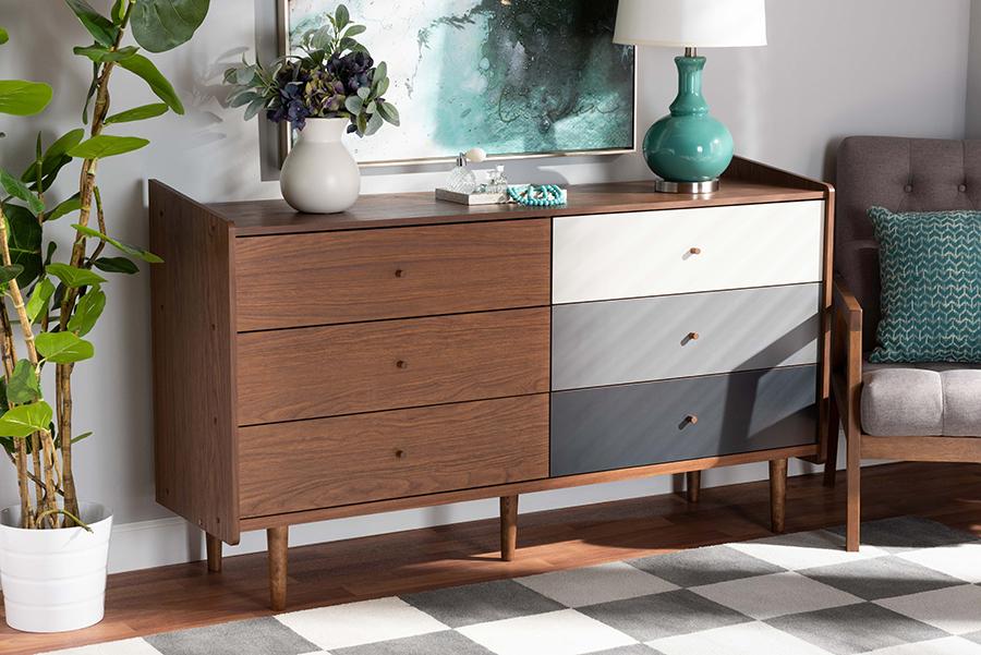 Halden Multicolor Walnut Brown Grey Gradient Wood 6 Drawer Dresser   Baxton Studio