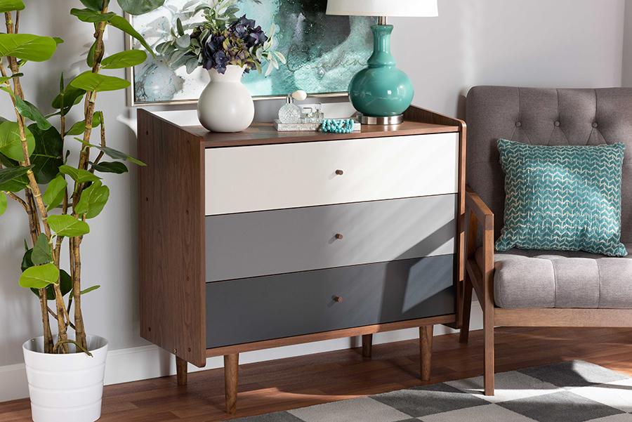 Halden Multicolor Walnut Brown Grey Gradient Wood 3 Drawer Chest | Baxton Studio