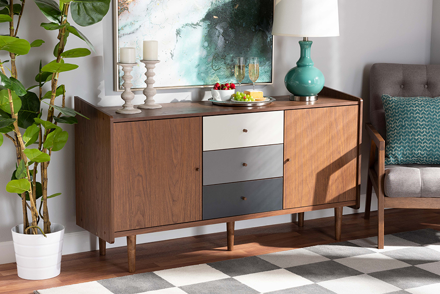 Halden Multicolor Walnut Brown Grey Gradient Wood 2 Door Dining Room Sideboard Buffet   Baxton Studio