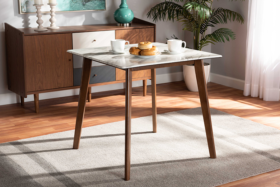 Kaylee Walnut Wood Dining Table with Faux Marble Tabletop | Baxton Studio