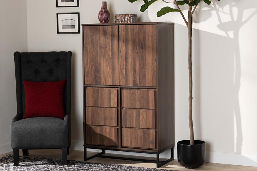 Neil Walnut Wood Black Metal Multipurpose Storage Cabinet | Baxton Studio