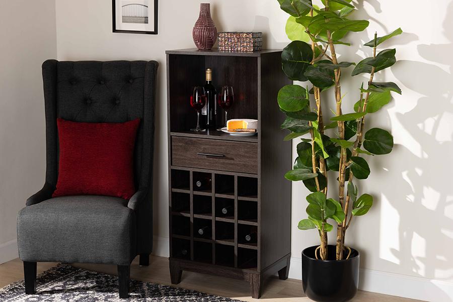 Trenton Dark Brown Wood 1 Drawer Wine Storage Cabinet | Baxton Studio