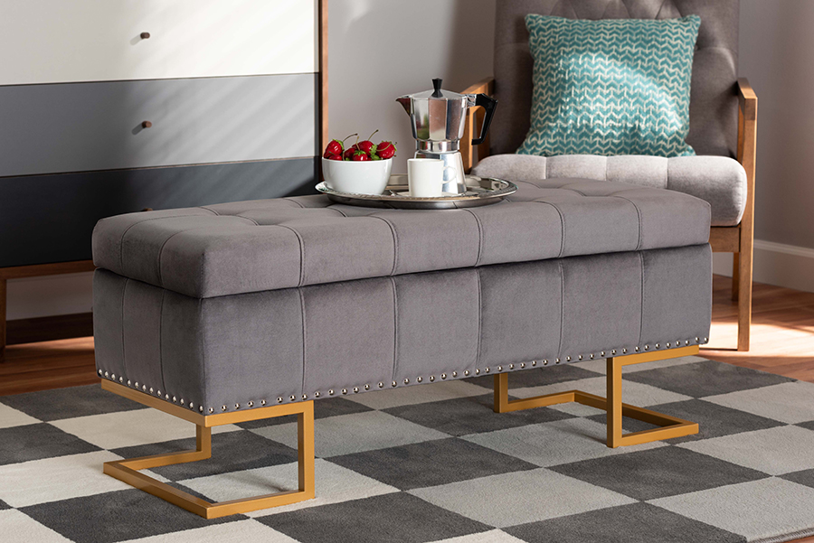 Ellery Grey Velvet Fabric Gold Metal Storage Ottoman | Baxton Studio