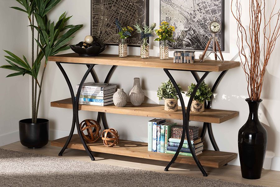 Terrell Natural Brown Wood Black Metal Console Table   Baxton Studio
