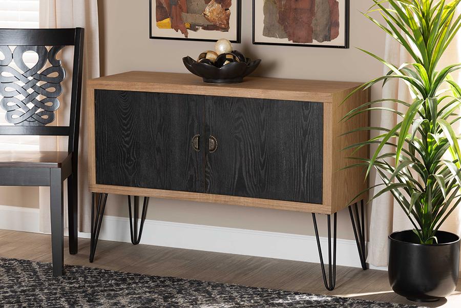 Denali Walnut Brown Black Wood Metal Storage Cabinet   Baxton Studio