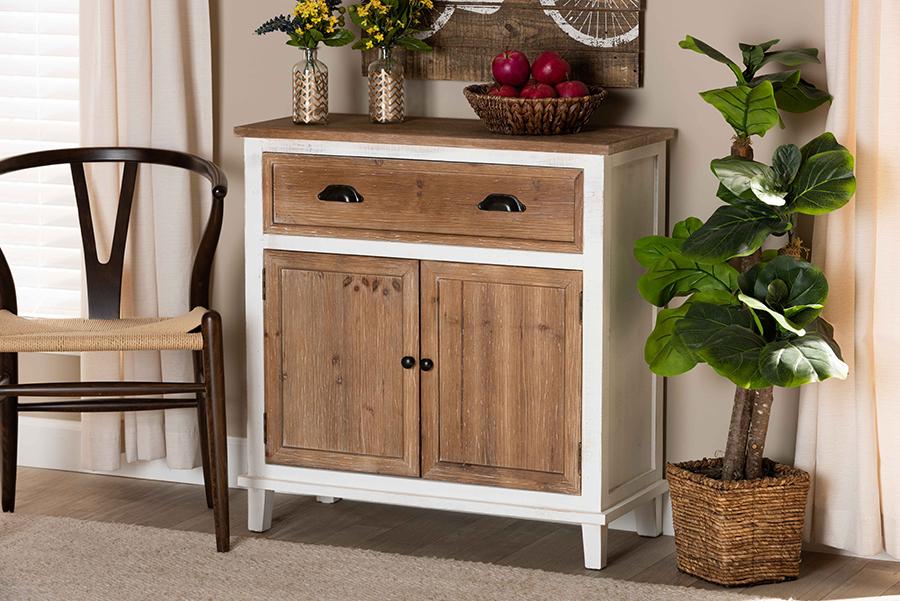 Glynn White Oak Brown Wood 2 Door Storage Cabinet   Baxton Studio