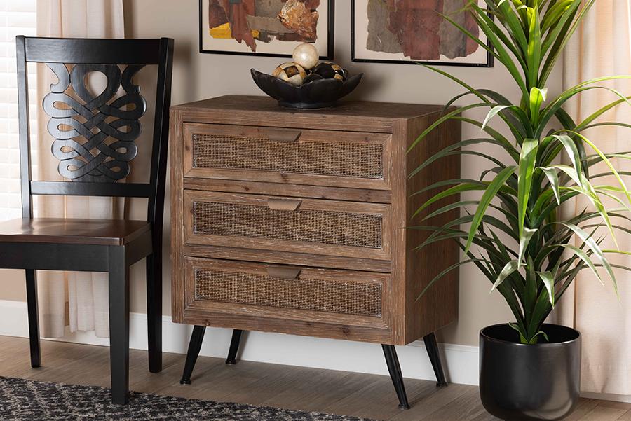 Calida Whitewashed Natural Brown Wood Rattan 3 Drawer Storage Cabinet | Baxton Studio
