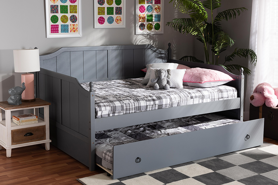 Millie Grey Wood Full Daybed with Trundle | Baxton Studio