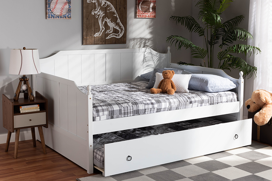 Millie White Wood Full Daybed with Trundle | Baxton Studio
