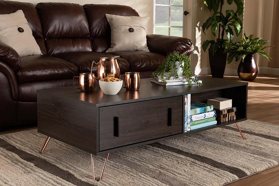 Baldor Dark Brown Wood Rose Gold Tone Metal 2 Drawer Coffee Table | Baxton Studio