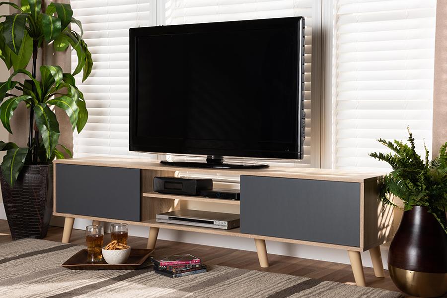 Clapton Grey Oak Brown Wood TV Stand | Baxton Studio
