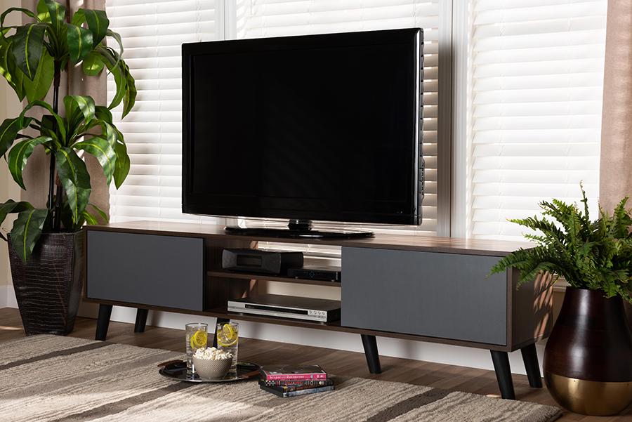 Clapton Multi Tone Grey Walnut Wood TV Stand | Baxton Studio