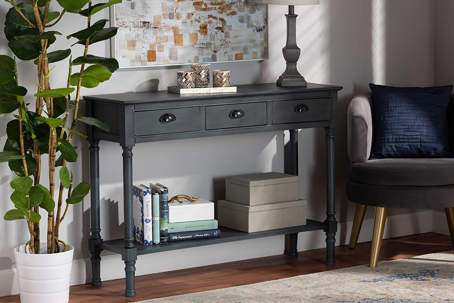 Garvey Grey Wood 3 Drawer Console Table   Baxton Studio