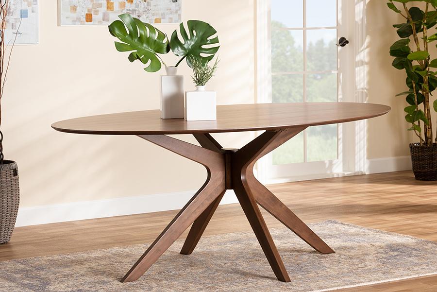 Monte Walnut Wood 71-inch Oval Dining Table | Baxton Studio